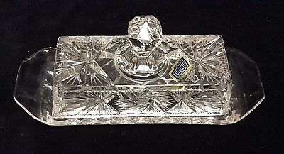 """Glass Covered Butter Dish by Violetta 24% Lead Cut Crystal (Poland) 8.63"""" L"""