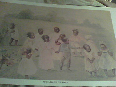 RING AROUND THE ROSES   ~.. Black  Memorabilia BABY art~  very` unusual print