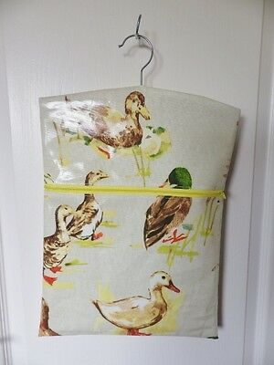 "HandMade OILCLOTH Peg/Hanging Storage Bag Zipped 12½"" x 16"" MALLARD DUCKS"