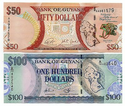 GUYANA  50 and 100 Dollars   -  A Set of 2 Crisp UNC Banknotes