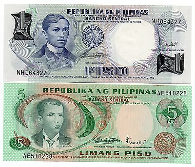 PHILIPPINES 1 and 5 Pisos  -  A  Set of 2 Crisp UNC Banknotes