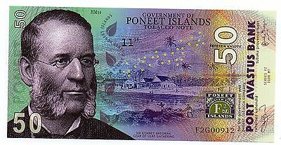 PONEET ISLANDS 50 Kasutu - A Crisp UNC Privately Issued Polymer Banknote