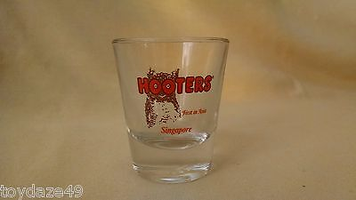 Hooters Shot Glass Singapore First In Asia Bar Barware Libbey Orange Owl Logo Ad