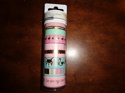 Crafting Washi Tape Recollections 10pcs Pug Crane Sassy Me Time Pink Gold Foil