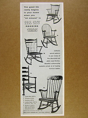 1955 Tell City Rocking Chairs 5 Chair Models photo vintage print Ad