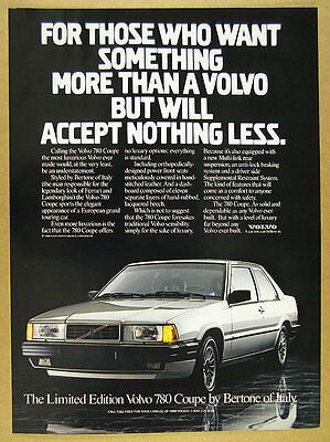 1988 Volvo 780 Coupe by Bertone color photo vintage print Ad