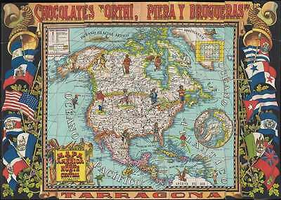 1940 Chocolates Orthi Tradeing Card Pictorial Map of North America (complete set