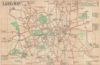 1914 London General Omnibus Company Bus Map of London, England