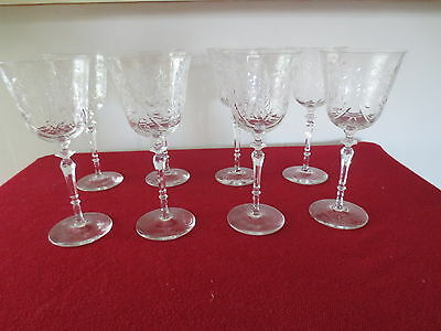 "Set of 8 Fostoria Etched Crystal Water Goblets or Wine Glasses 8"" tall"