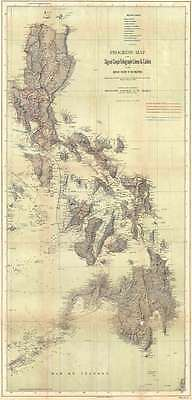 1900 Greely Map of the Philippines showing Telegraph Lines