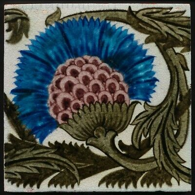 TH2946 William de Morgan Blues & Purples Arts & Crafts Tile 1882-1888
