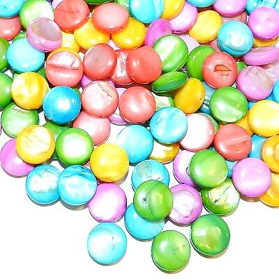 MPL2495 Assorted Color 12mm Puffed Flat Round Mother of Pearl Shell Beads 50/pkg
