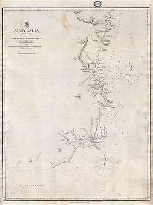 1865 John Lort Stokes Admiralty Chart or Map of Eastern Australia: Cape Howe to