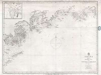 1861 Collinson Admiralty Chart or Map of Hong Kong and Vicinity