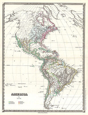 1855 Spruner Map of the Americas up to 1776