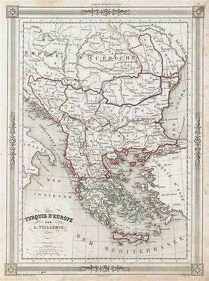 1852 Vuillemin Map of Turkey in Europe and Greece