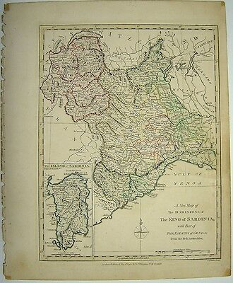 Robert Wilkinson 1791 Engraved Hand Colored Map Of  Sardinia