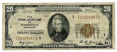 1929 $20 National Currency Note - Minneapolis Federal Reserve Bank - AL476