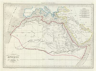 1843 Malte-Brun Map of Northern Africa in Antiquity