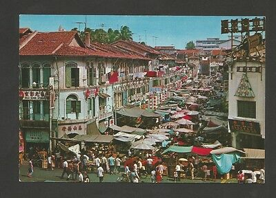 POSTCARD ASIA ASIE SINGAPORE STREET STALLS SELLING NNEW YEAR FESTIVAL 1960s z1