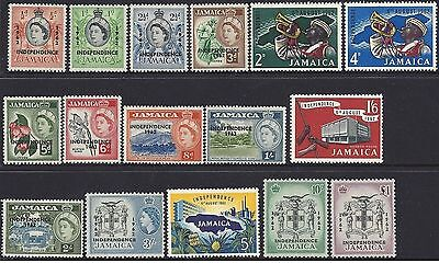 Jamaica 1962-3 QEII INDEPENDENCE Definitives Hinged Mint (16) SG 181-96 (MJ3)