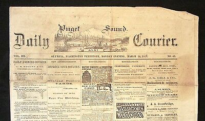 Rare 1874 PUGET SOUND COURIER Olympia WA Washington Territory Newspaper SEATTLE