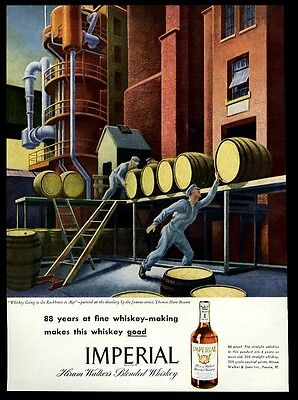 1946 Thomas Hart Benton barrel distillery art Imperial whiskey vintage print ad
