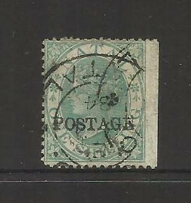 """Natal  South Africa ~ 1875-76 Qv """"postage"""" On 1 Shilling 1/- Used 1884"""