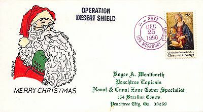 Signed Christmas Cover Santa Claus Operation Desert Shield USS Missouri~112198