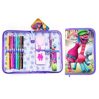 Purple Trolls Filled Pencil Case - Official Licensed New Product Single Zip
