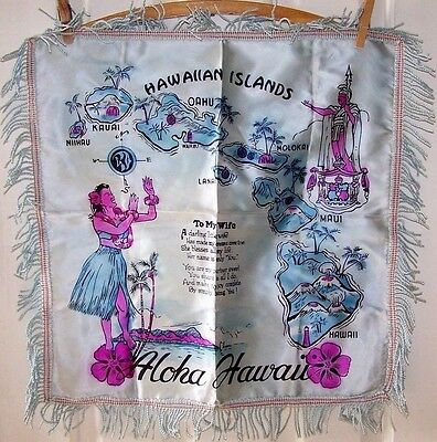 Original Hawaii Souvenir Wife Pillow Top-Fringed Edge-1940-50's-Hawaiian Islands