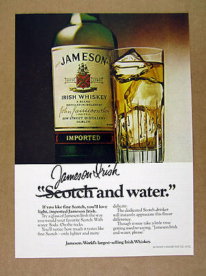 1978 John Jameson's Irish Whiskey bottle highball glass photo vintage print Ad