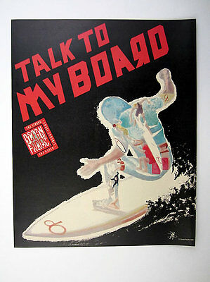 1989 Ocean Pacific OP 'Talk to My Board' surfer surfing art vintage print Ad