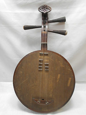Chinese Wooden and Bone Antique YUEQIN MOON GUITAR RUAN BIWAStringed Instrument