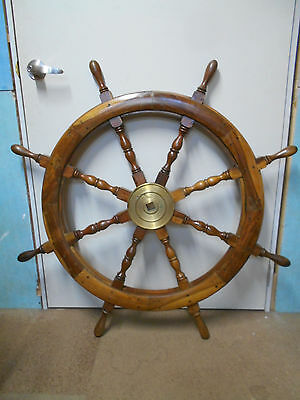 Vintage Ship's Wheel 106cm Wooden Japanese Nautical Maritime #75