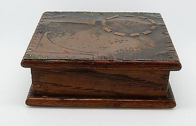 Antique English Arts & Crafts Oak Wooden Box with Tooled Copper Lid England