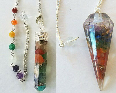 2 Large DIFFERENT ORGONE  CHAKRA STONE CRYSTAL DOWSING PENDULUMS With 2 Pouches