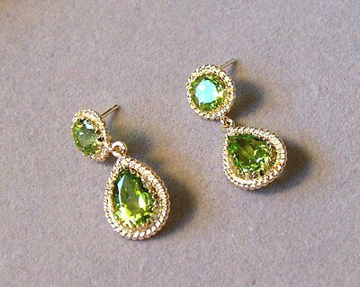 Stunning Vintage 14K Yellow Gold + Double Peridot Drop Earrings - New Old Stock