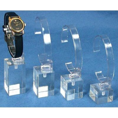 4 Clear Acrylic Watch Display Stands