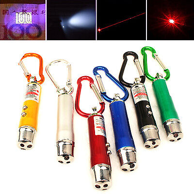 Mini 3 In 1 Laser Pointer Pen LED Light Kid Cats Toy Money Detector Keychain NT