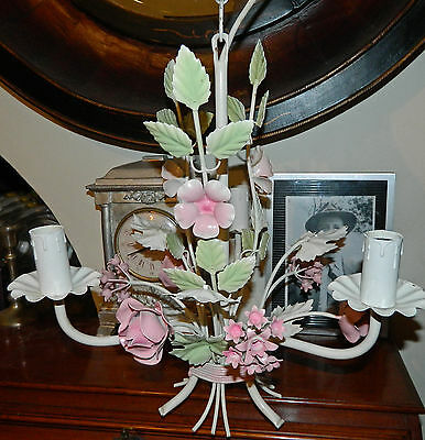 Vintage European Tole Toleware Chandelier Bouquet of Flowers