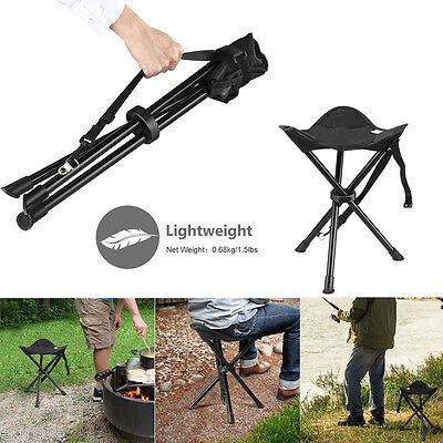 Folding Hiking Tripod Stool Foldable Chair For Outdoor Camping Fishing with Bag