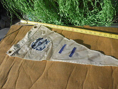 Vintage Coast Guard Auxiliary Boat Flag Nautical Maritime White Banner