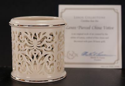 Lenox Pierced China Votive 24kt Trim with Box