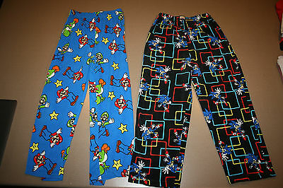 Lot of 2 Pairs Nintendo Super Mario Sonic Hedgehog Kid's Pajama Bottoms 14-16 XL