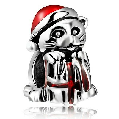 European Charms Christmas Red Cat Bead Fit 925 Sterling Silver Bracelets Bangle