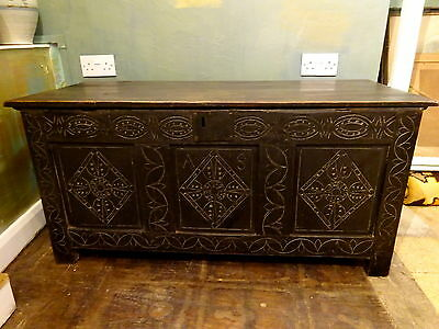 Antique 17th Century & Later Carved Oak Chest Coffer