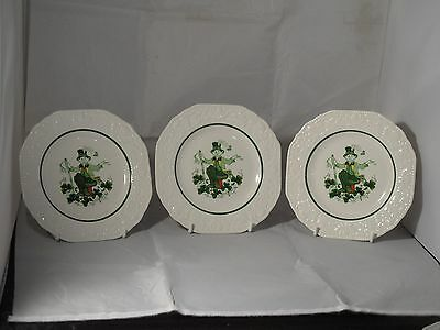 "3  X CUTHBERTSON POTTERY ENGLAND ""LUCK O THE IRISH"" TEA PLATES 16.5cms WIDE VGC"