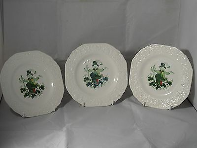 3 X CUTHBERTSON POTTERY ENGLAND LUCK O THE IRISH TEA PLATES 16.5cms WIDE VGC
