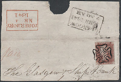 1841 SG7 1d RED BROWN - BLACK PLATE 5 TIED TO SCOTTISH TOBERMORY PIECE (RK)